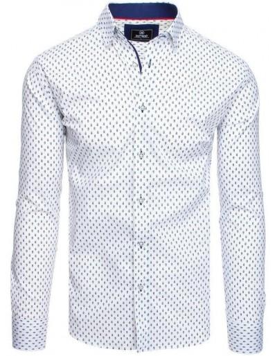 Bílé pánské tričko PREMIUM s dlouhým rukávem DX1807