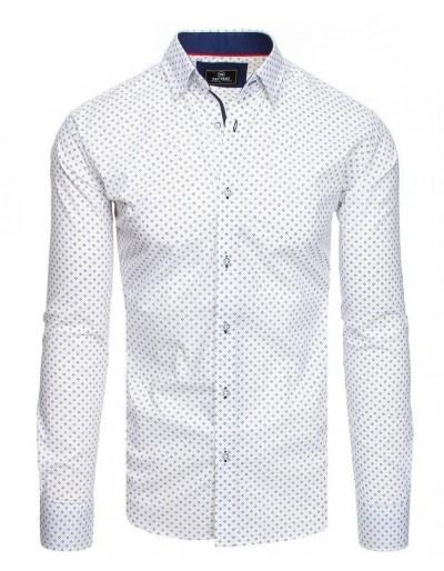 Bílé pánské tričko PREMIUM s dlouhým rukávem DX1808