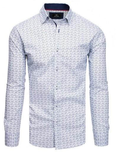 Bílé pánské tričko PREMIUM s dlouhým rukávem DX1809
