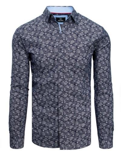 Pánská košile PREMIUM s dlouhým rukávem v tmavě modré barvě DX1810