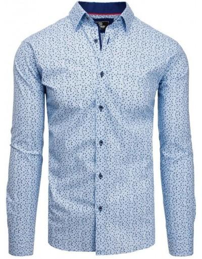 Modré pánské tričko PREMIUM s dlouhým rukávem DX1811