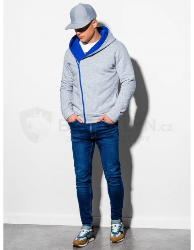 Men's zip-up hoodie PRIMO - grey/blue