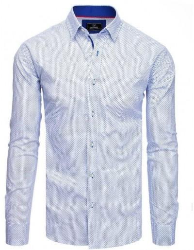 PREMIUM bílé pánské tričko s dlouhým rukávem DX1820