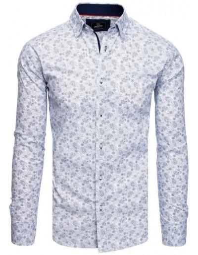 PREMIUM bílé pánské tričko s dlouhým rukávem DX1821