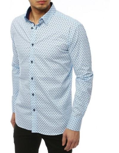 Modré pánské tričko PREMIUM s dlouhým rukávem DX1823
