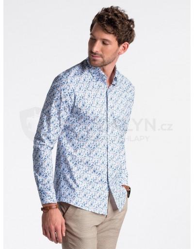 Pánská košile s dlouhým rukávem K491 - bílá / modrá