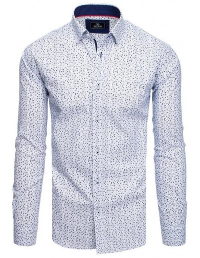 PREMIUM bílé pánské tričko s dlouhým rukávem DX1826