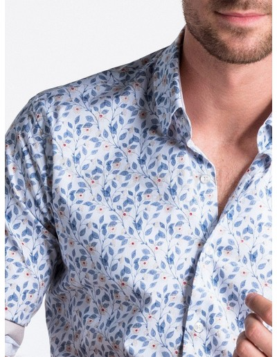Men's shirt with long sleeves K491 - white/blue