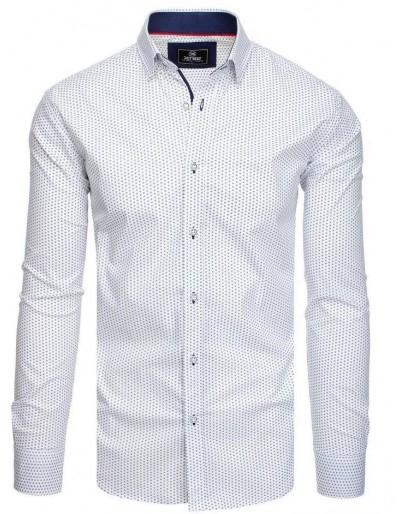PREMIUM bílé pánské tričko s dlouhým rukávem DX1827