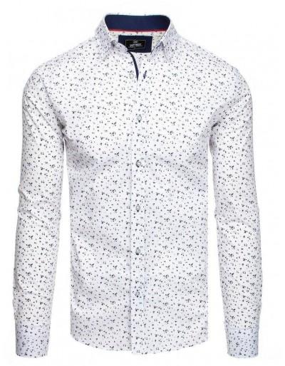 Bílé pánské tričko PREMIUM s dlouhým rukávem DX1830