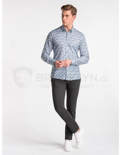 Men's shirt with long sleeves K491 - white/green
