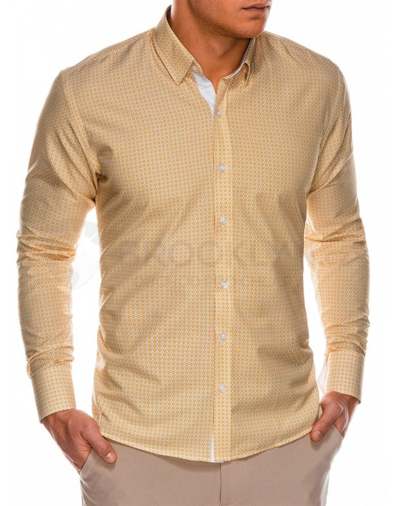 Pánská košile s dlouhým rukávem K467 - oranžová / zelená