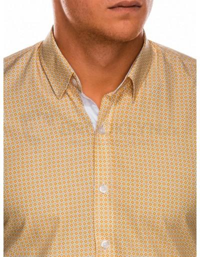Men's shirt with long sleeves K467 - orange/green