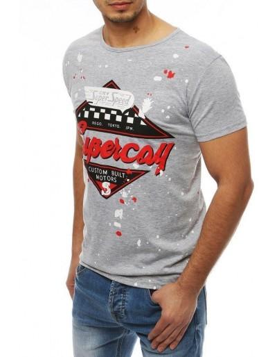 Šedé pánské tričko RX3975 s potiskem
