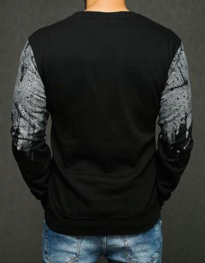 Bluza męska z nadrukiem czarna BX4435