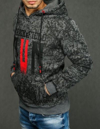 Antracitová pánská mikina s kapucí BX4437
