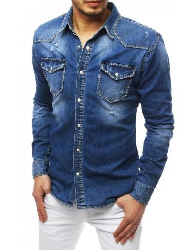 Pánská riflová modrá košile DX1832