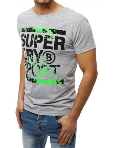 Šedé pánské tričko s potiskem RX3995