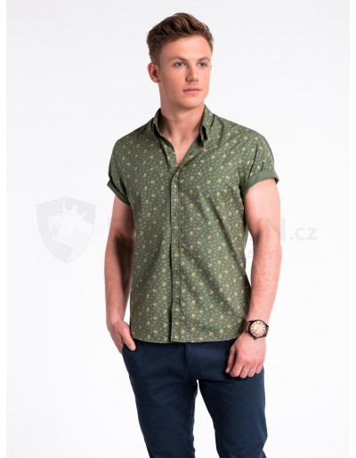 Pánská košile s krátkým rukávem K473 - zelená / béžová