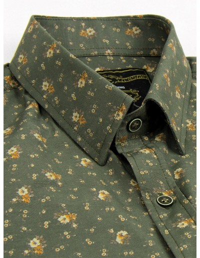 Men's shirt with short sleeves K473 - green/beige