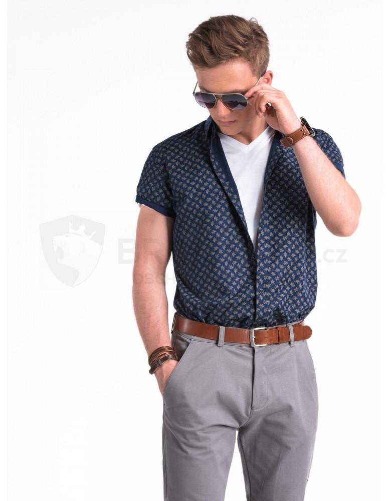 Pánská košile s krátkým rukávem K473 - námořnická / hnědá