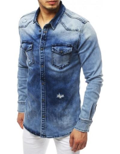 Pánská riflová košile modrá DX1835