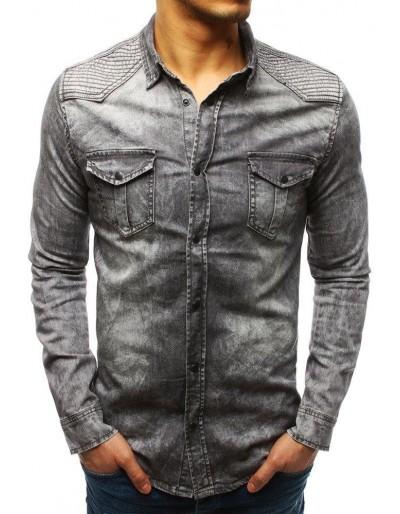 Šedá pánská riflová košile DX1841