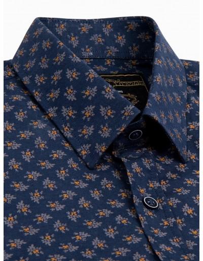 Men's shirt with short sleeves K473 - navy/brown