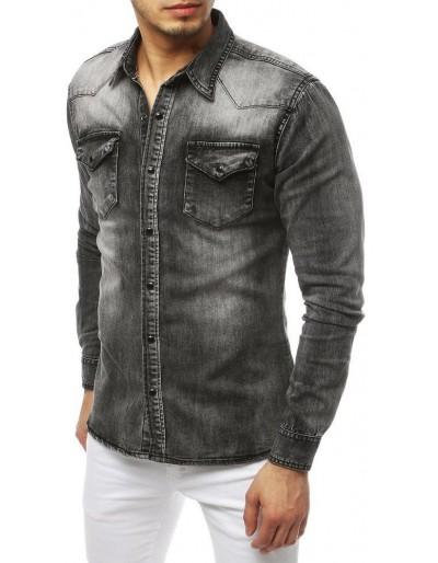 Šedá pánská riflová košile DX1843