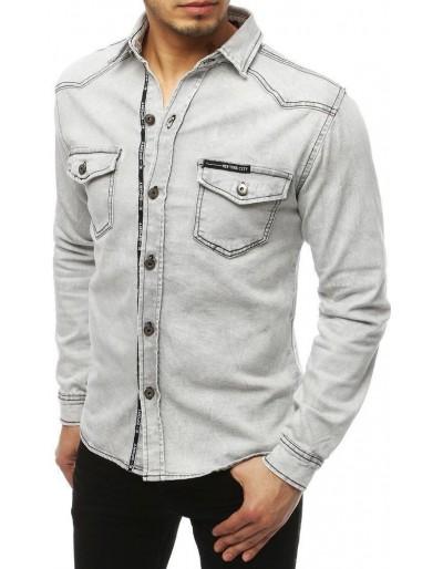 Světle šedá pánská riflová košile DX1846