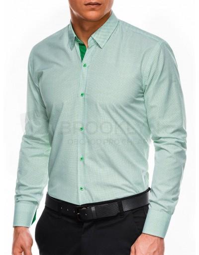 Pánská elegantní košile s dlouhým rukávem K478 - bílá / zelená