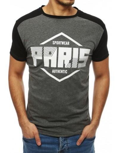 Pánské tričko s potiskem, tmavě šedé RX4069