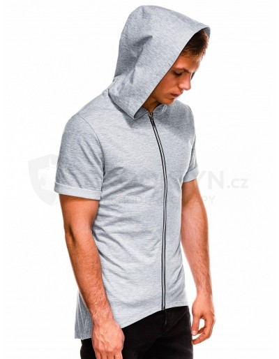 Men's zip-up sweatshirt with short sleeves B960 - grey