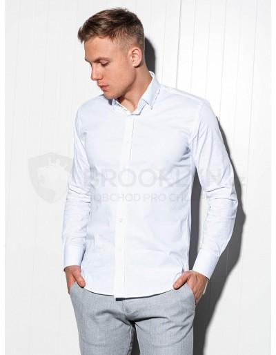 Pánská štíhlá košile s dlouhým rukávem K504 - bílá