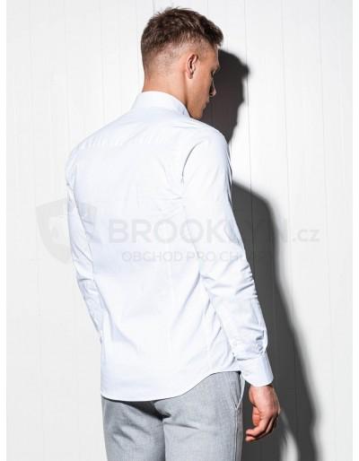 Men's slim shirt with long sleeves K504 - white
