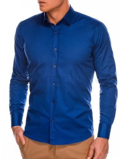 Pánská štíhlá košile s dlouhým rukávem K504 - námořnická