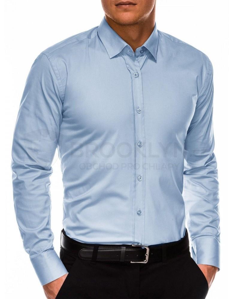 Pánská běžná košile s dlouhým rukávem K505 - světle modrá