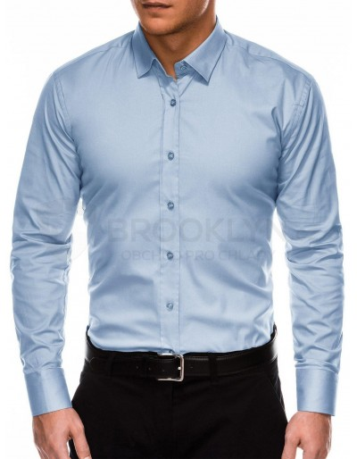 Men's regular shirt with long sleeves K505 - light blue