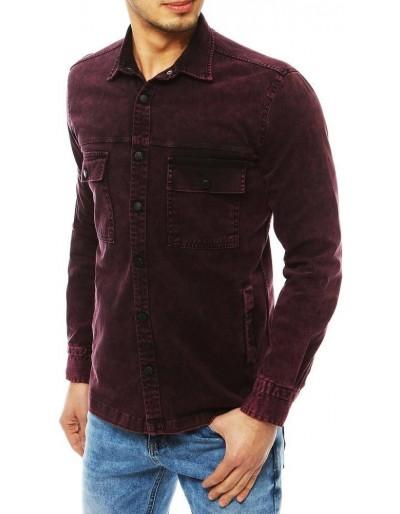 Tmavě vínová pánská riflová košile DX1849
