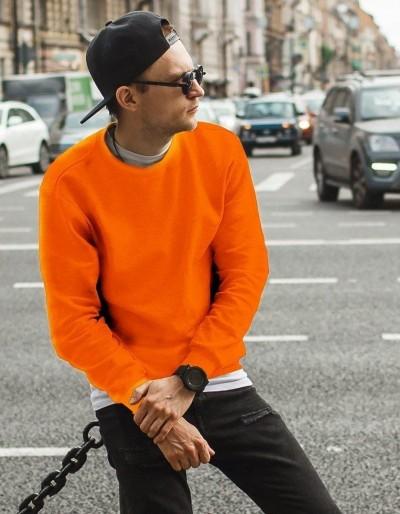 Pánská hladká oranžová mikina BX4510
