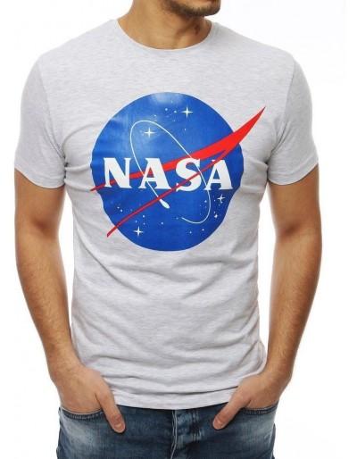 Pánské tričko s potiskem NASA, světle šedé RX4099