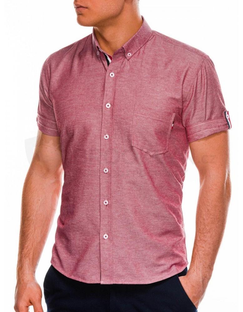 Pánská košile s krátkým rukávem K489 - červená