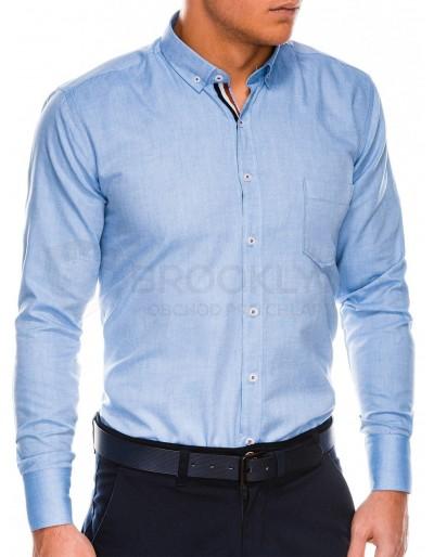 Pánská košile s dlouhým rukávem K490 - modrá