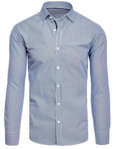 Pánská košile s bílými a tmavomodrými pruhy DX1885