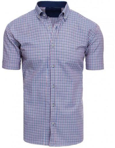Pánská kostkovaná košile s krátkým rukávem KX0923