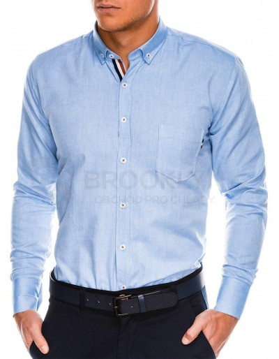 Men's shirt with long sleeves K490 - blue