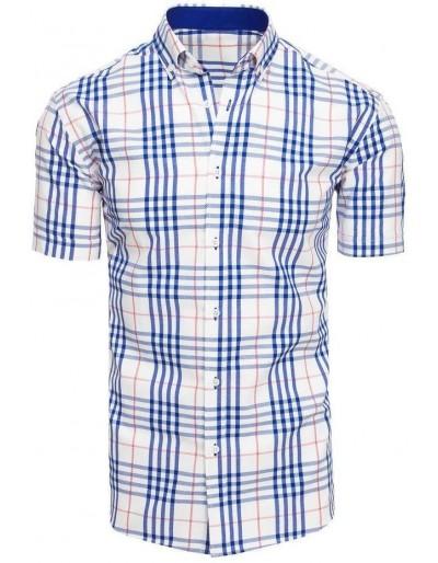 Pánská bílá kostkovaná košile s krátkým rukávem KX0925