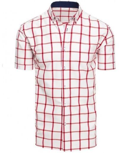 Pánská bílá kostkovaná košile s krátkým rukávem KX0927