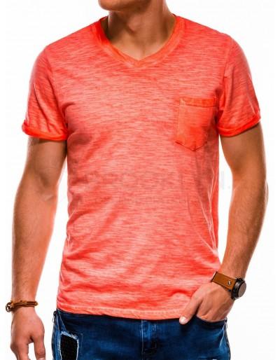 Pánské obyčejné tričko S1053 - oranžové
