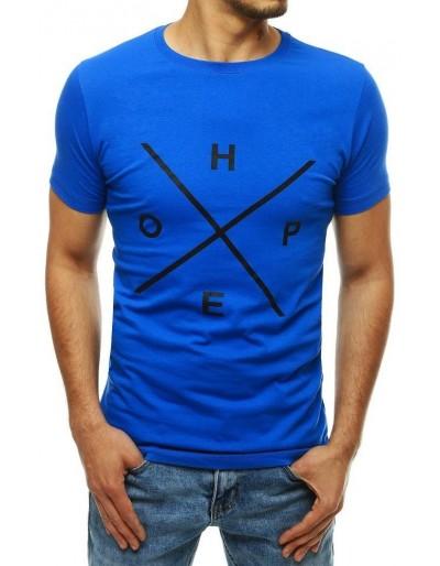 Modré pánské tričko s potiskem RX4146